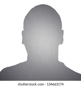 Illustration of a young man with brushed aluminum texture isolated over a white background.