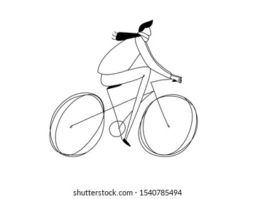 Illustration of a young man riding a bicycle. Hand drawn simple continuous one line vector bicycle drawing.