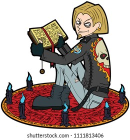 Illustration a young man with a spell book,in a subculture outfit, sitting inside a magic circle with candles