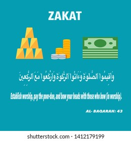 An illustration of zakat form of alms-giving treated in Islam as a religious obligation.