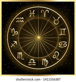 Illustration of zodiac circle on cosmic background with stars. Astrology horoscope signs.