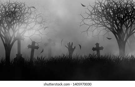 Illustration of zombie hand popped from the ground among haunted cemetery in creepy forest concept design background.