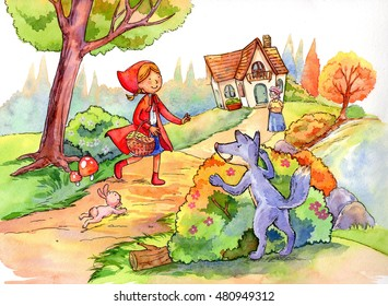 Illustration:Little Red Riding Hood close to grandma's house