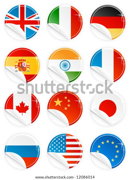 Illustrations of 12 national flag/emblem buttons/tags/icons in glossy modern style with peel effect: UK, Italy, Germany, Spain, India, France, Canada, China, Japan, Russia, USA and EU.