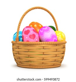 Illustrations 3d rendering. Easter eggs in a basket on a white background.