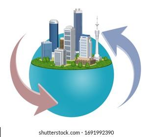 都市環境の変化を表す矢印、3Dアートワークを使ったイラスト