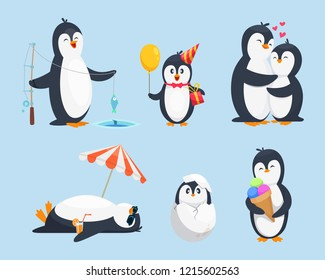 Illustrations of baby pinguins in different poses. cartoon pictures. Penguin baby, animal pinguin character with gift