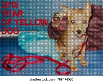 Illustrations. Cross-stitch. Yellow dog is a symbol of 2018 year. The earth dog is the patron of the year in the Chinese, Eastern calendar.