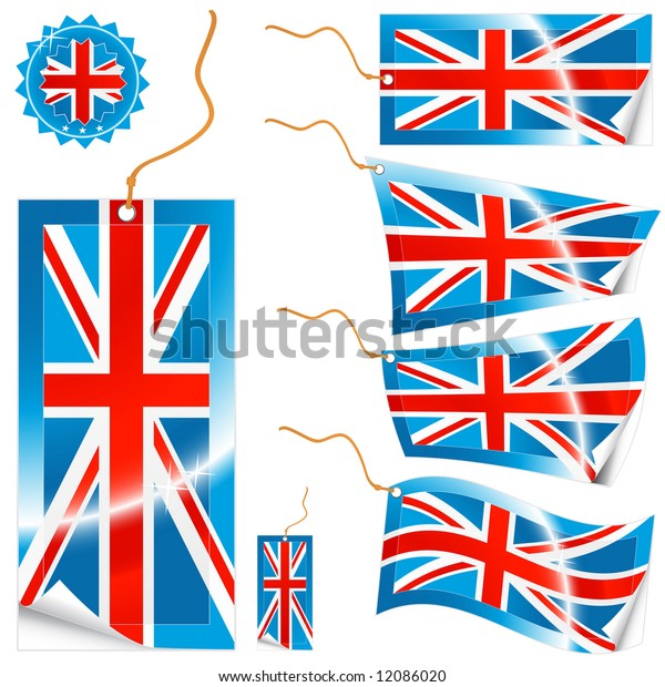 Illustrations of detailed United Kingdom flag tags (retail or info) in different shapes (simple, waves, badges) and an universal glossy UK icon.