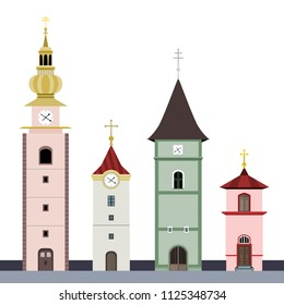 Illustrations of different chapel buildings in style of central European architecture, isolated on a white background