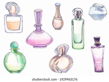 Illustrations of eight colored transparent glass perfume jars painted in watercolor isolated on a white background