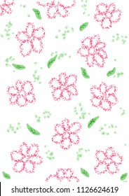 Illustrations of flowers and green leave on white background