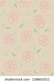 Illustrations of flowers and green leave on brown background