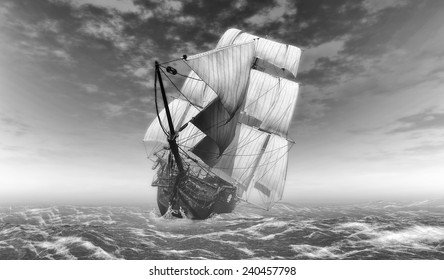 illustrations former self sailboat sailing ship in black and white