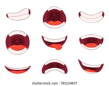 illustrations of funny cartoon mouth with different expressions. Set of mouth cartoon funny and emotion
