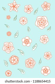 Illustrations of geometry flowers line art and green leave on blue background