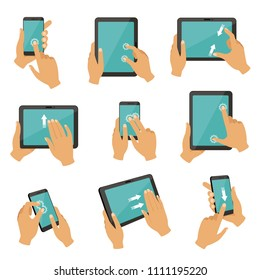 Illustrations of gestures to control different devices tablets and smartphones. Finger gesture touch tablet screen, multitouch collection