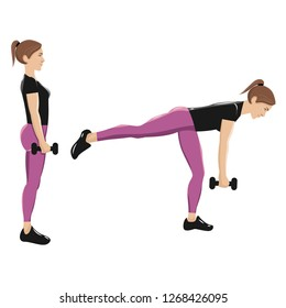 Illustrations of glute exercises and workouts. Illustrations of single-leg romanian deadlifts. With shadows.