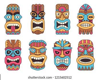 Illustrations of hawaiian tiki god. Tribal totem mask, totem tribal colored face
