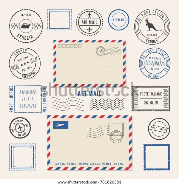 illustrations of letters and postmarks, airmail designs. Antique stamps. Airmail retro stamp, vintage post stamps imprint