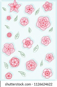 Illustrations of pink flowers line art and green leave on blue background