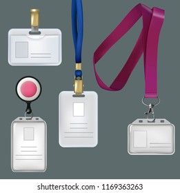 Illustrations of realistic templates of personal badges, security plastic cards. card personal, plastic identity badge