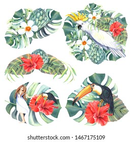 Illustrations set with exotic bird toucan, white parrot and tropical flower, leaves, hibiscus, plumeria. Clip art with Isolated elements on a white background .Hand painted in watercolor.