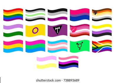 illustrations set of the LGBT flags on white background.