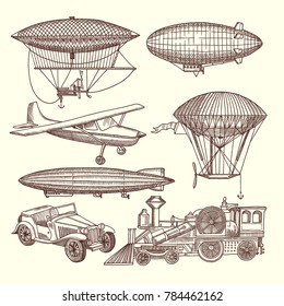 Illustrations set of machines in steampunk style. transport zeppelin and airship, car and train transportation