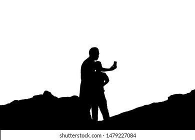 Illustrations, silhouettes, white background, father-son, take pictures using a mobile phone