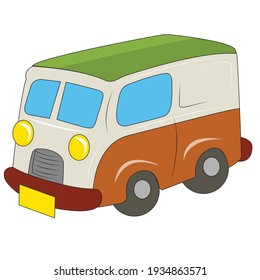 Illustrations of a toy van on a white background