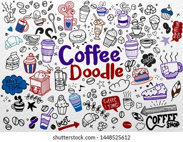 illustration,Set of hand drawn coffee and delicious sweets. Cakes, biscuits, baking, cookie, pastries, donut, ice cream, macaroons. Perfect for dessert menu or food package design