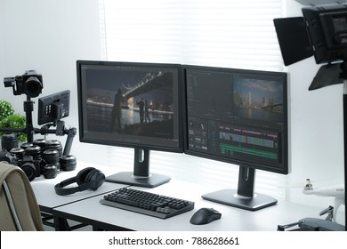 Illustrative Editorial of Adobe Premiere in Clean Modern Video Editor Workspace