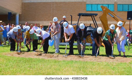 Illustrative image of ground-breaking ceremony for a new building. Unidentifiable people breaking ground.