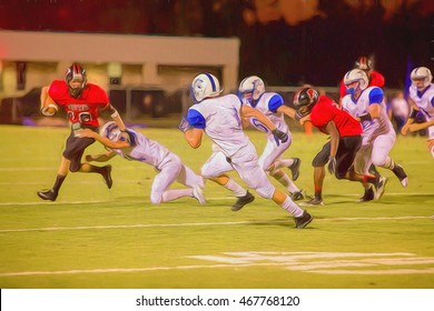 Illustrative image of high school football game at night.