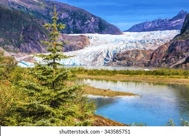 Illustrative image of Mendenhall glacier with pine tree in foreground.