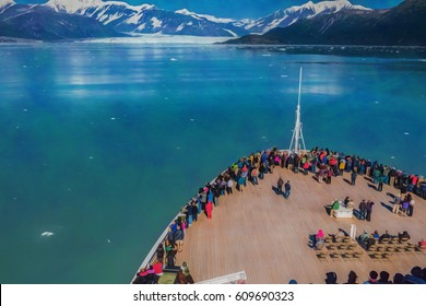 Illustrative image of passengers on cruise ship looking at glacier.