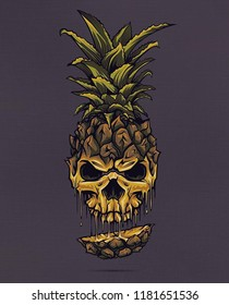 Illustrative logo of skull carved out of a pineapple. The logo has dark background and pineapple leaves on head.