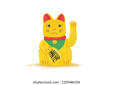 Illustrative lucky cat, that can be used to talk about Asia, culture or traditions.