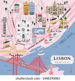 Illustrative map of Lisbon, Portugal