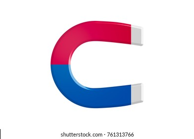 Illustrative red and blue horseshoe magnet, isolated on white background.