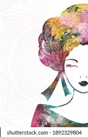 Illustrator drawing beautiful asian woman and hair style for abstract vintage backgrounds