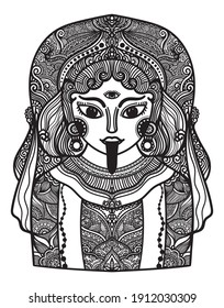 Illustrator drawing indian goddess KALI DEVI, character for traditional ancient abstract backgrounds