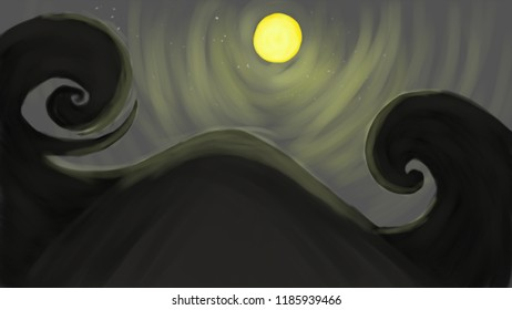 ilustrasi abstrak tentang halloween gunung gelap