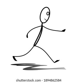 ilustrasion pictures of stickman Who is running away with eyes forward.