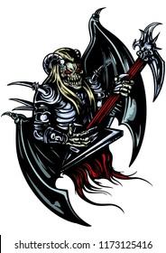 Ilustration a horned demon with brutal electro guitar