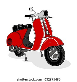 Ilustration of vintage scooter. Emblems and label. Scooter popular means of transport in a modern city. Advertisements, brochures, business templates. Isolated on a color background