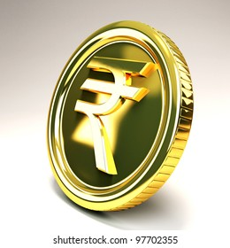 image of 3d gold coin of rupee against abstract background