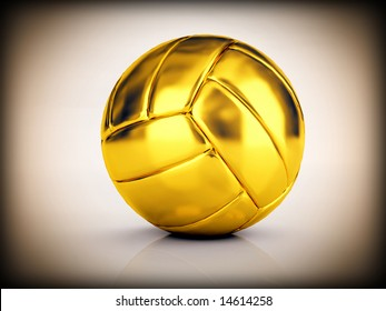 image 3d of golden volley ball