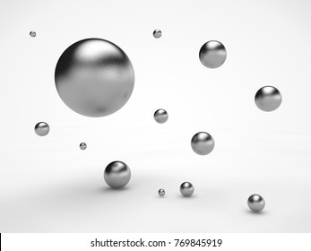 the image of the array floating in space metal of spheres, spheres with scratched surface, the idea of weightlessness, of order and beauty. Illustration on white background. 3D rendering